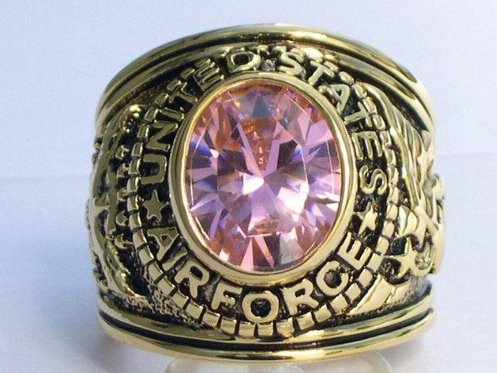 United States Air Force Military October Pink Cz Birthstone Men Ring Size 9 Ebay
