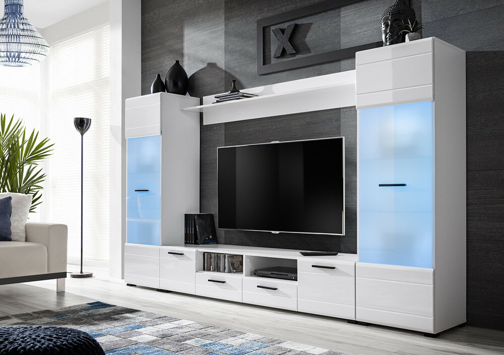 Living Room White High Gloss Furniture Display Cabinet Wall Unit Tv Stand Switch Ebay