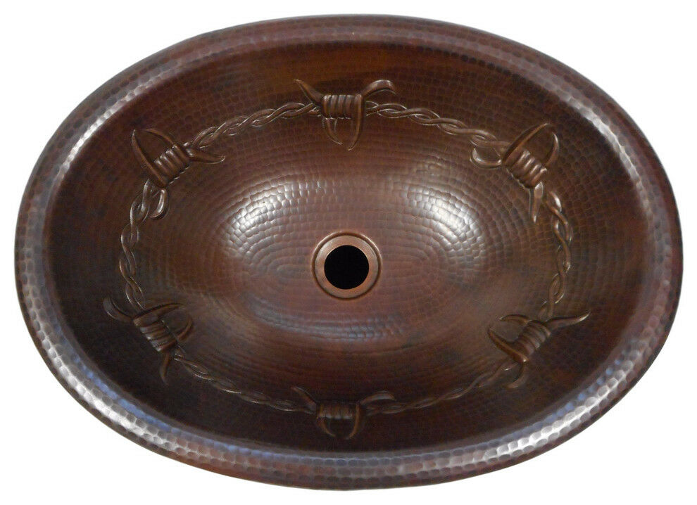 19 Oval Drop In Copper Bathroom Sink With Barbed Wire Ebay