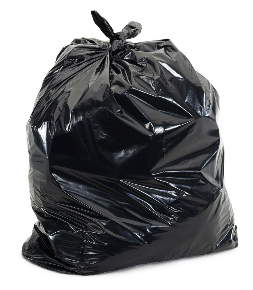 50 large 55 gallon commercial trash can bags heavy garbage duty yard 1 5 mil ebay. Black Bedroom Furniture Sets. Home Design Ideas