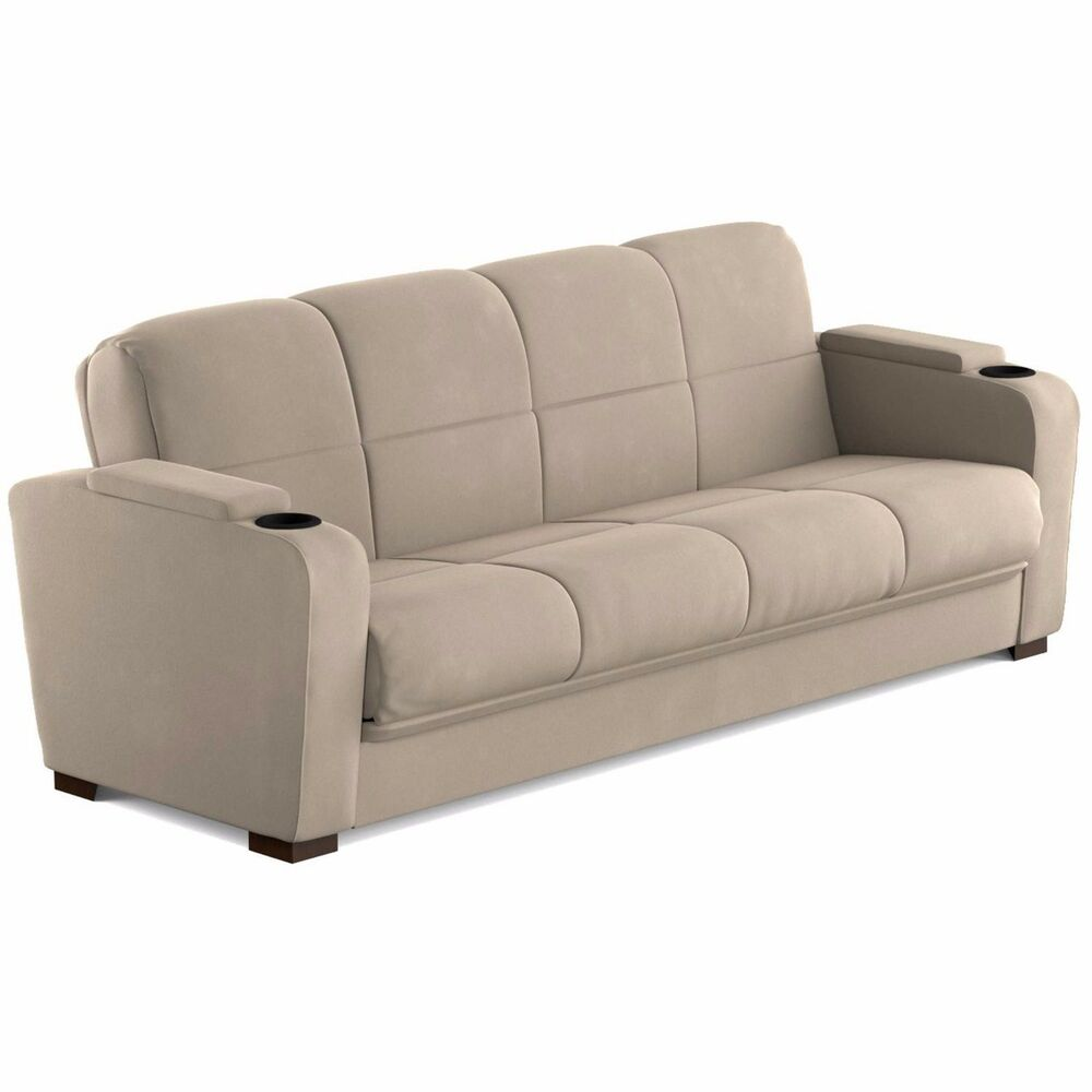 Sofa with arm storage cup holders bed couch living room furniture coil spring ebay Loveseat with cup holders