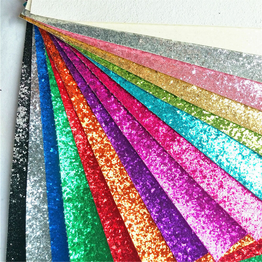 Zaione sparkle chunky craft glitter fabrics leather vinyl for Leather sheets for crafting