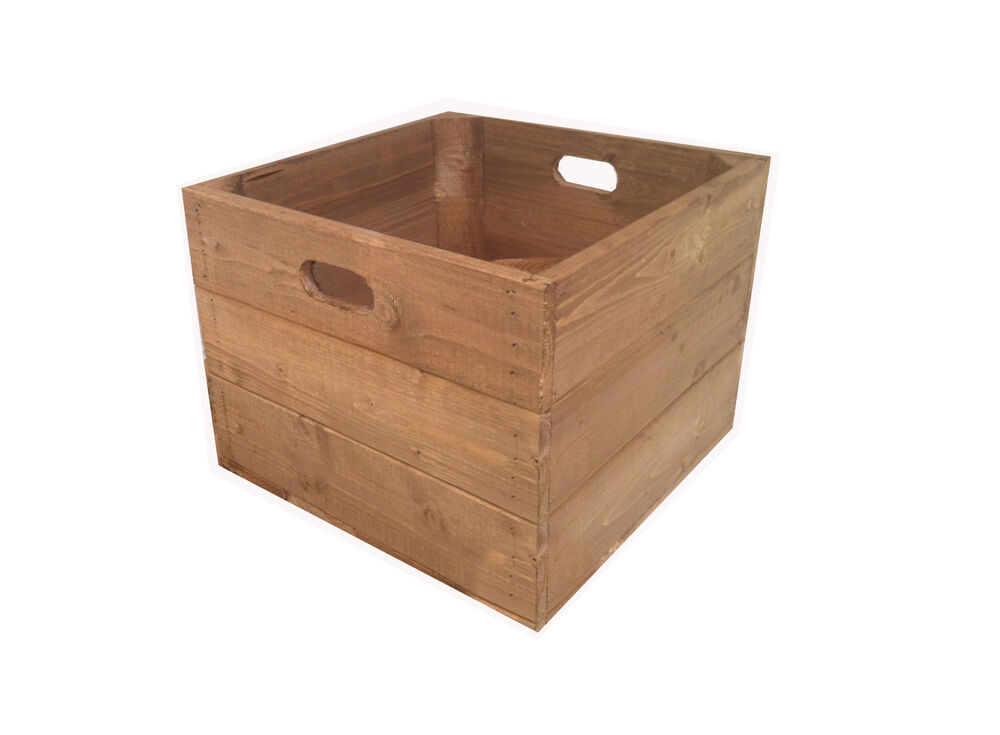 Rustic square wooden apple crate box ebay for Apple crate furniture