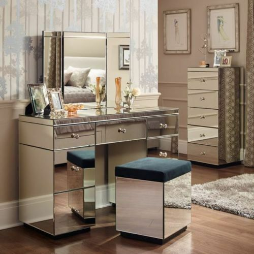 Shard glass mirror range dressing table mirror stool for Range dressing table