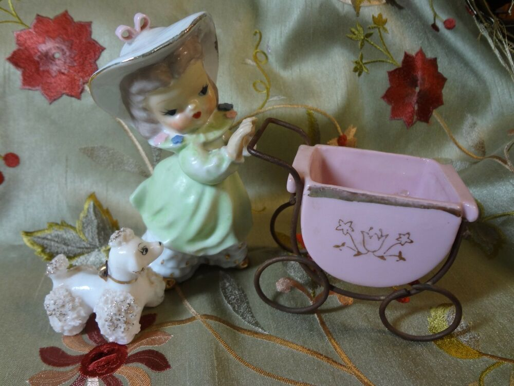 Vintage Ucagco Girl With Carriage And Poodle Ebay