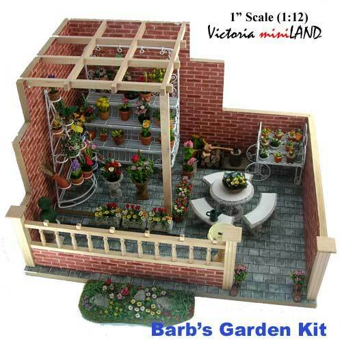 Miniature Barb's Garden Kit 1:12 Dollhouse Roombox