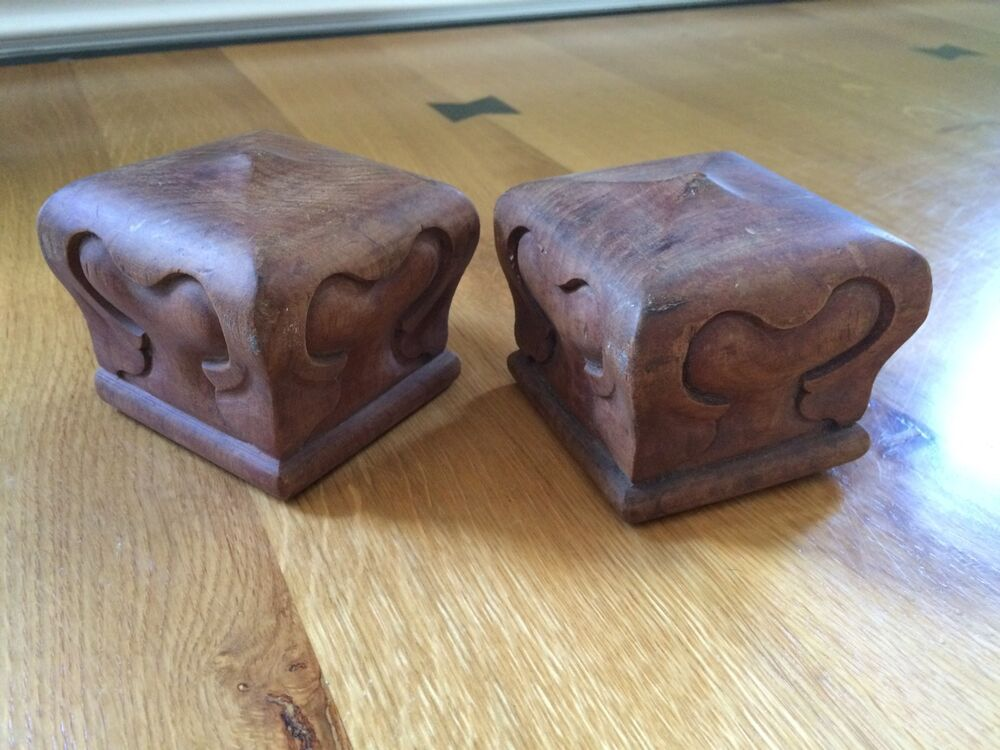 Vintage pair hand carved cherry wood bed post finials ebay
