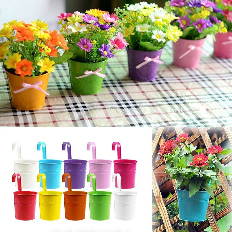 Colourful metal iron flower pots hanging balcony garden for Plant decorations home