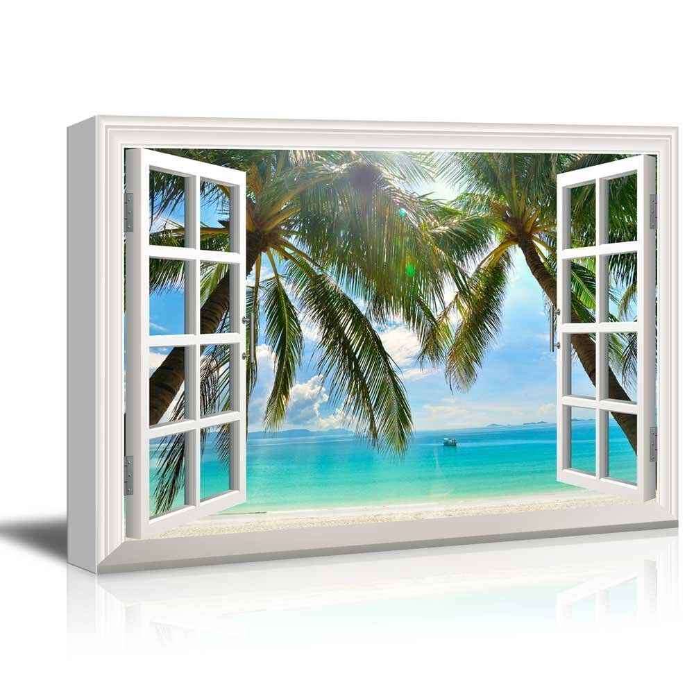Canvas Print - Palm Trees and Tropical Beach | Giclee ...