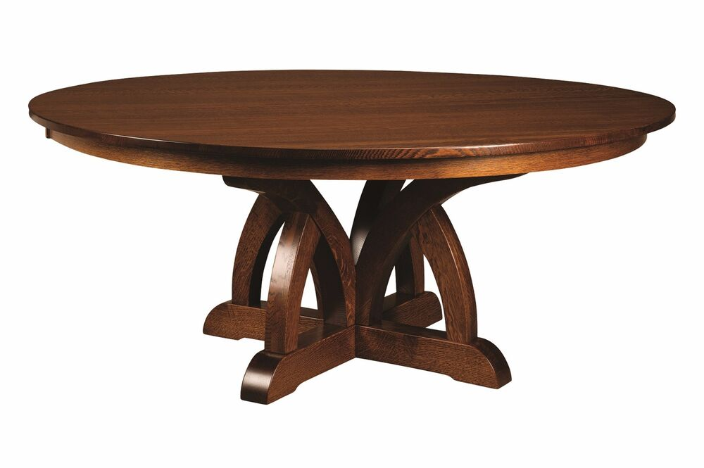 amish round pedestal dining table brooklyn solid wood traditional transitional ebay. Black Bedroom Furniture Sets. Home Design Ideas