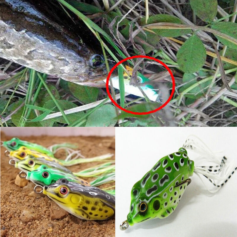 Vintage soft frog topwater and fishing lure crankbait hook for Frog lures for bass fishing