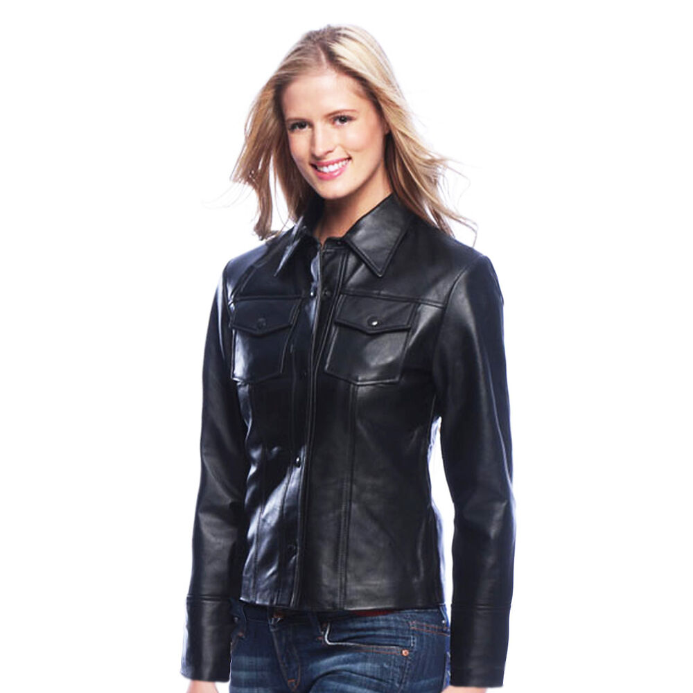 Womens black leather shirt jacket snap closure genuine for Leather jacket and shirt