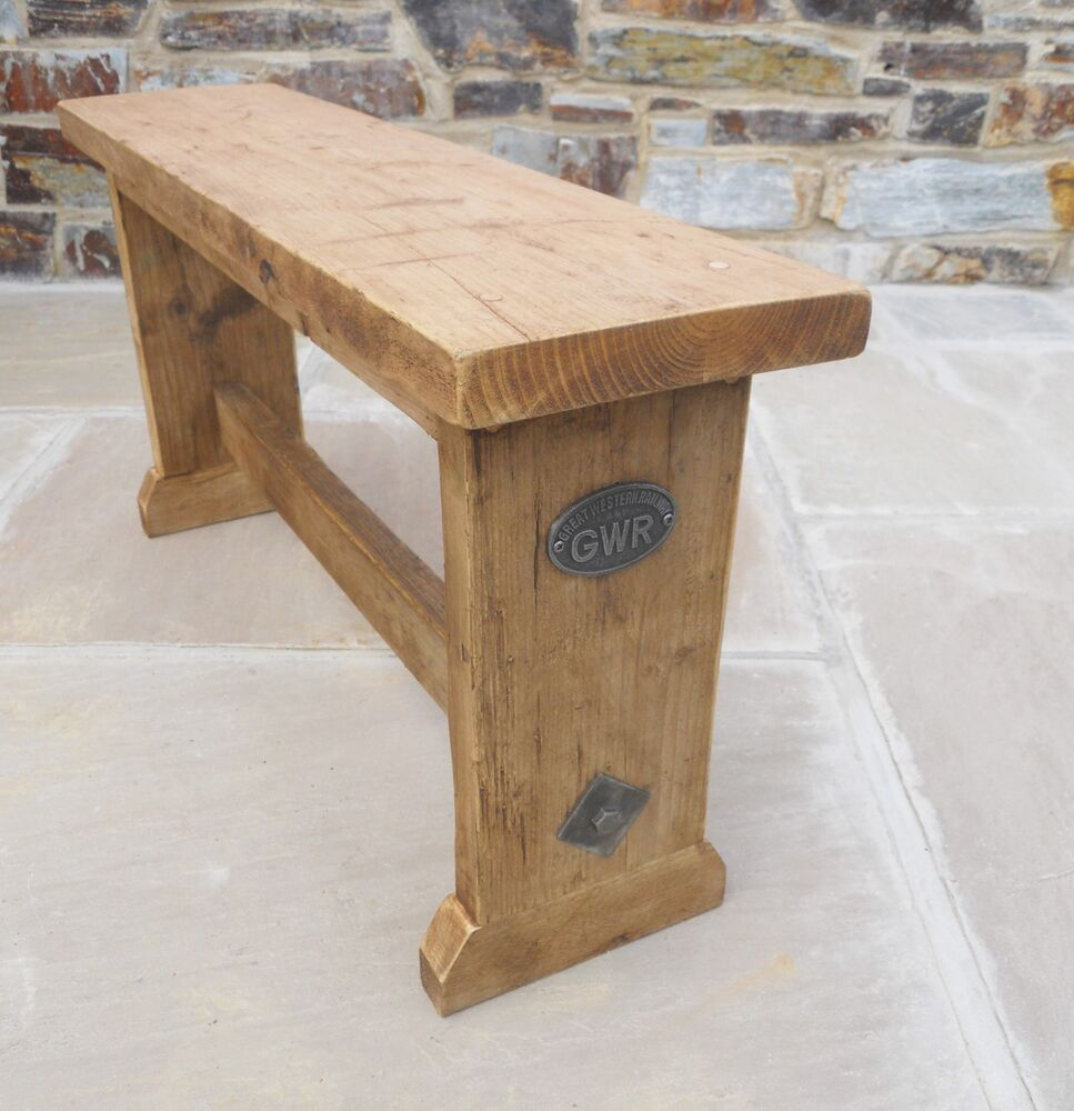 Hand made old pine reclaimed wooden bench seat kitchen Oak bench