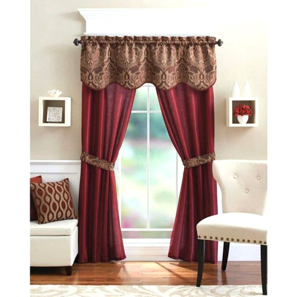 5 Piece Curtain Panel Set Elegant Red Curtains Home Living Room Bedroom Kitch
