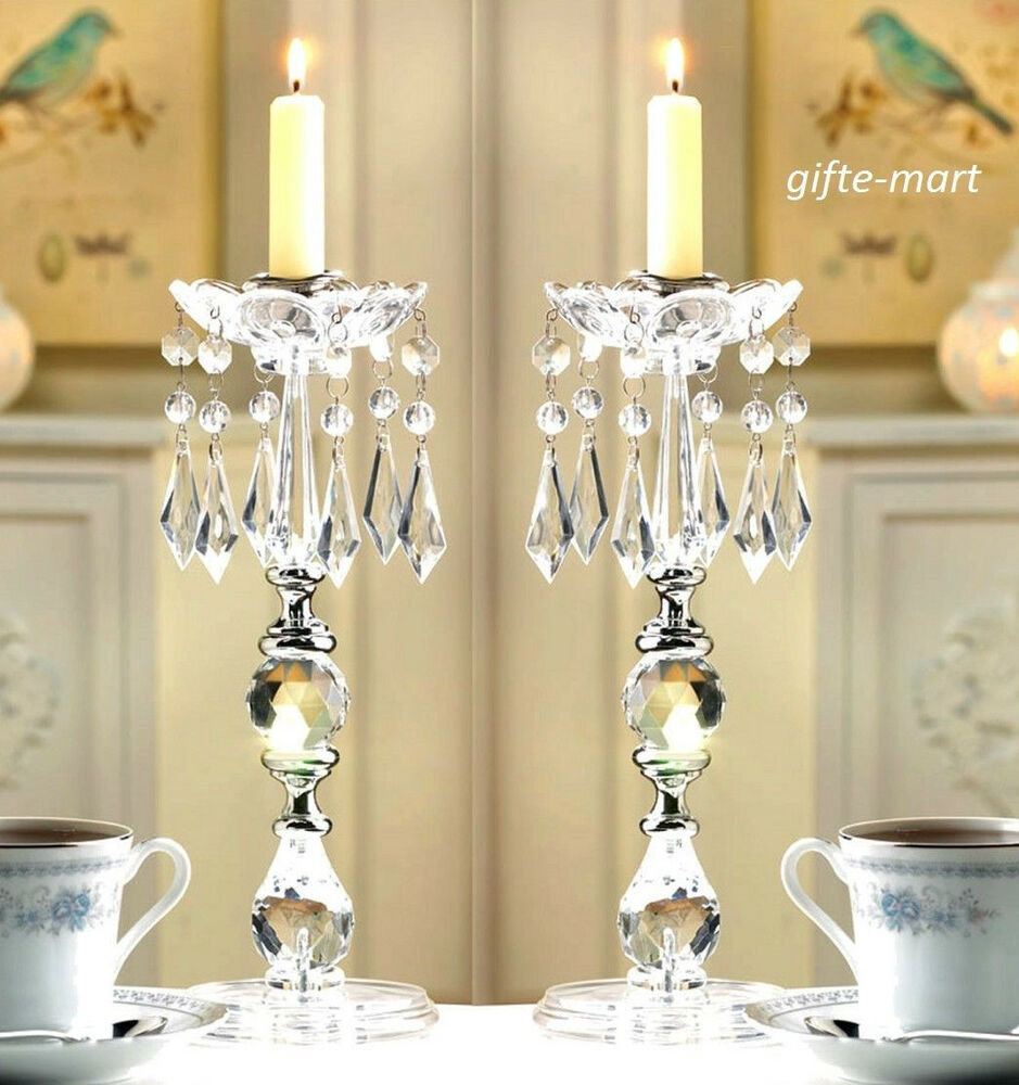 Clear chandelier quot tall candelabra candle holder