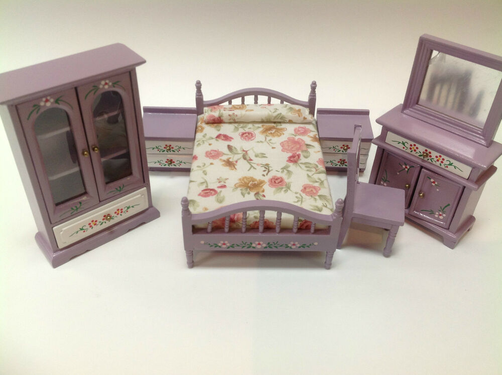 piece purple girl bedroom set for dollhouse 1 12 miniature baby room