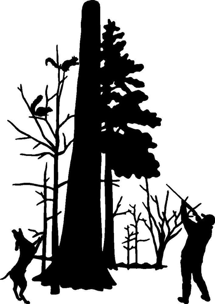 squirrel hunting decal  md 16 vinyl truck  boat  window squirrel images clipart black and white Squirrel Coloring Pages
