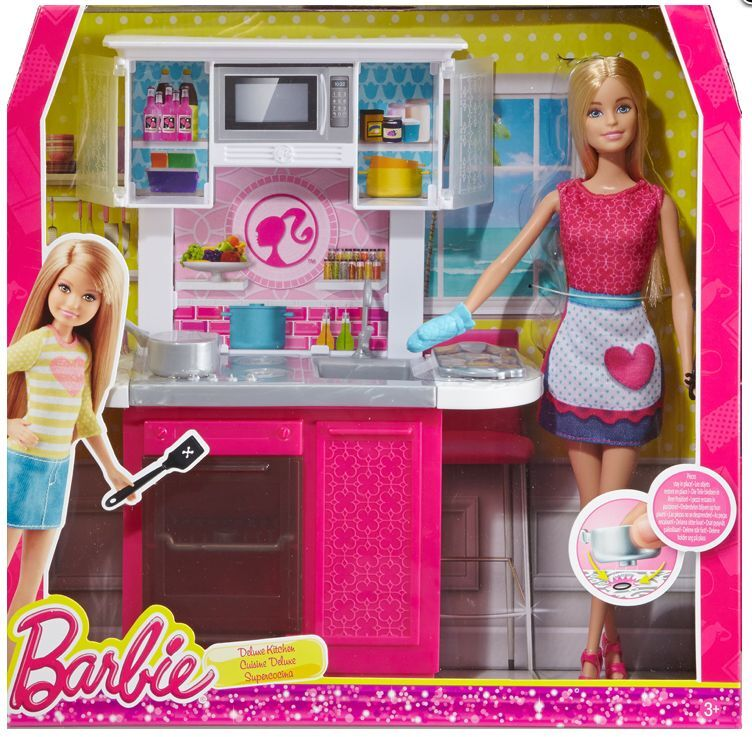 Barbie doll and kitchen furniture set new cfb62 ebay for Doll kitchen set