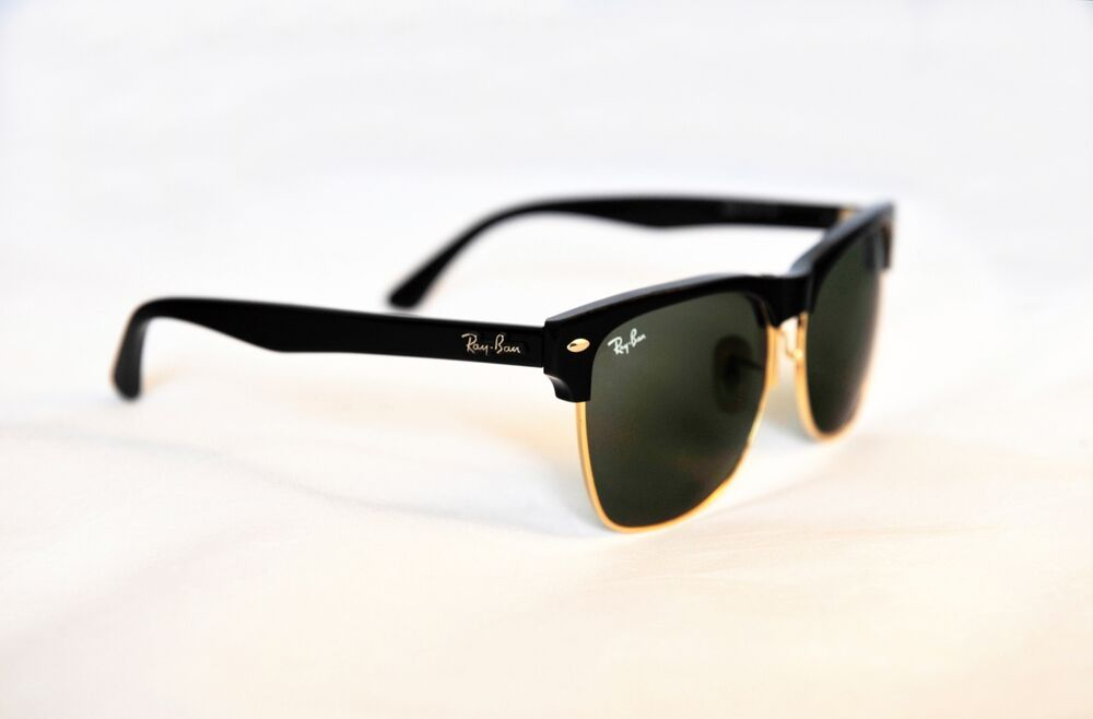Black Frame Ray Ban Sunglasses : New RAY BAN Sunglasses CLUBMASTER OVERSIZED Black Frame RB ...