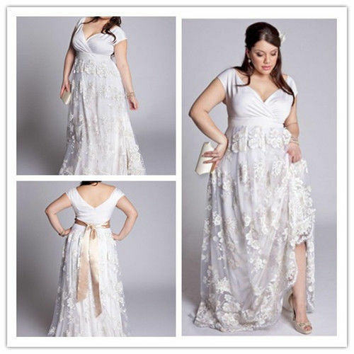 Wedding Dressing Gowns Personalised: Lace Plus Size White/Ivory Wedding Dress Bridal Gowns