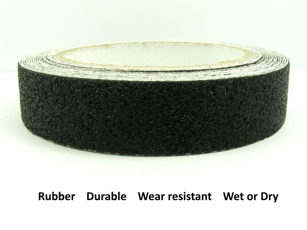 Black 25mm 1 wide rubber anti non slip safety tape for How wide is a bathtub