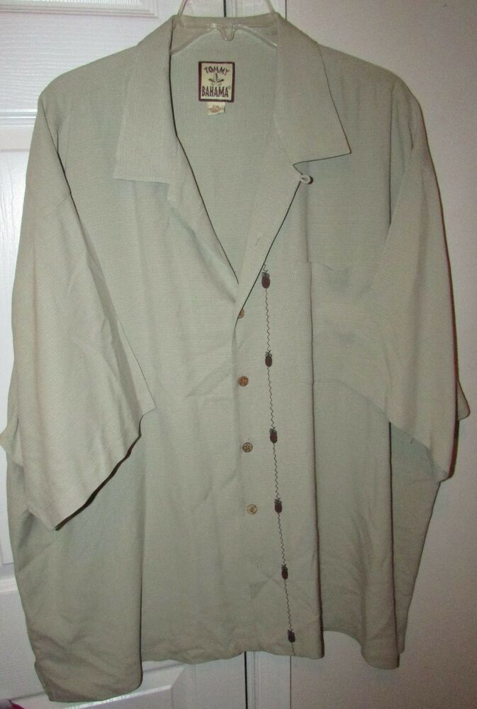 Tommy Bahama 100 Silk Hawaiian Camp Shirt 2xl Tan With