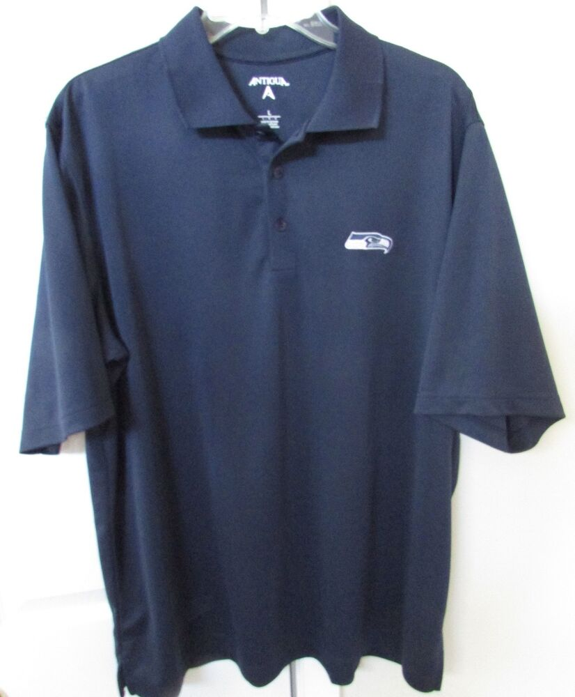 nfl seattle seahawks golf polo shirt by antigua large navy