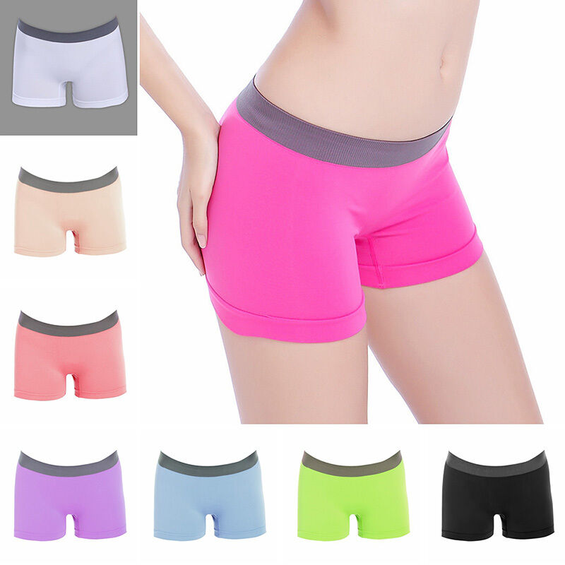 Womens Girls Yoga Gym Training Boxer Shorts Panties