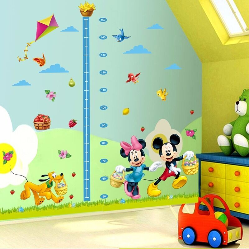 Mickey Minnie Mouse Height Chart Mural Wall Sticker Decal
