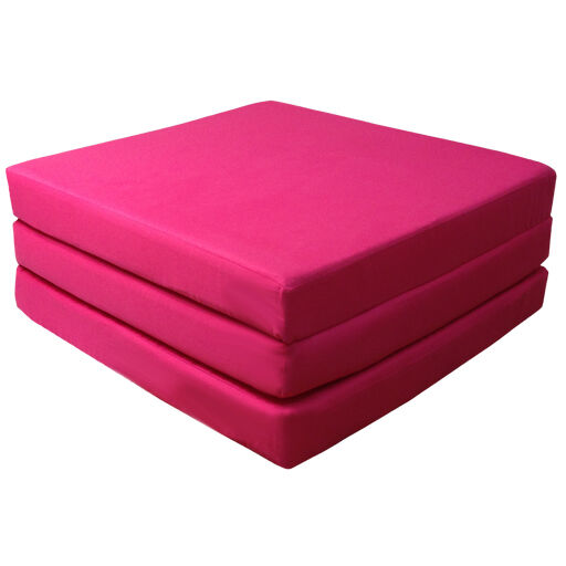 Pink 100 Cotton Fold Out Z Bed Cube Sleepover Guest