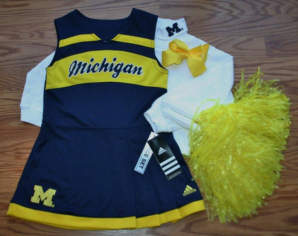 CHEERLEADER OUTFIT HALLOWEEN COSTUME MICHIGAN POM POMS CHEER SET 2T 2 HAIR  BOW  1dc4c7f43