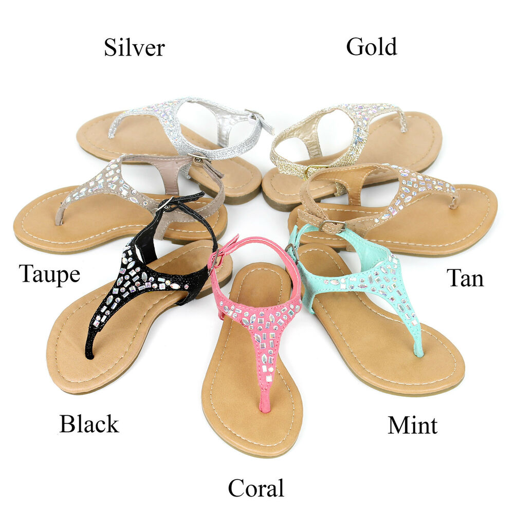 New Girls T-Strap Thong Strappy Braided Flat Flip Flop -5237