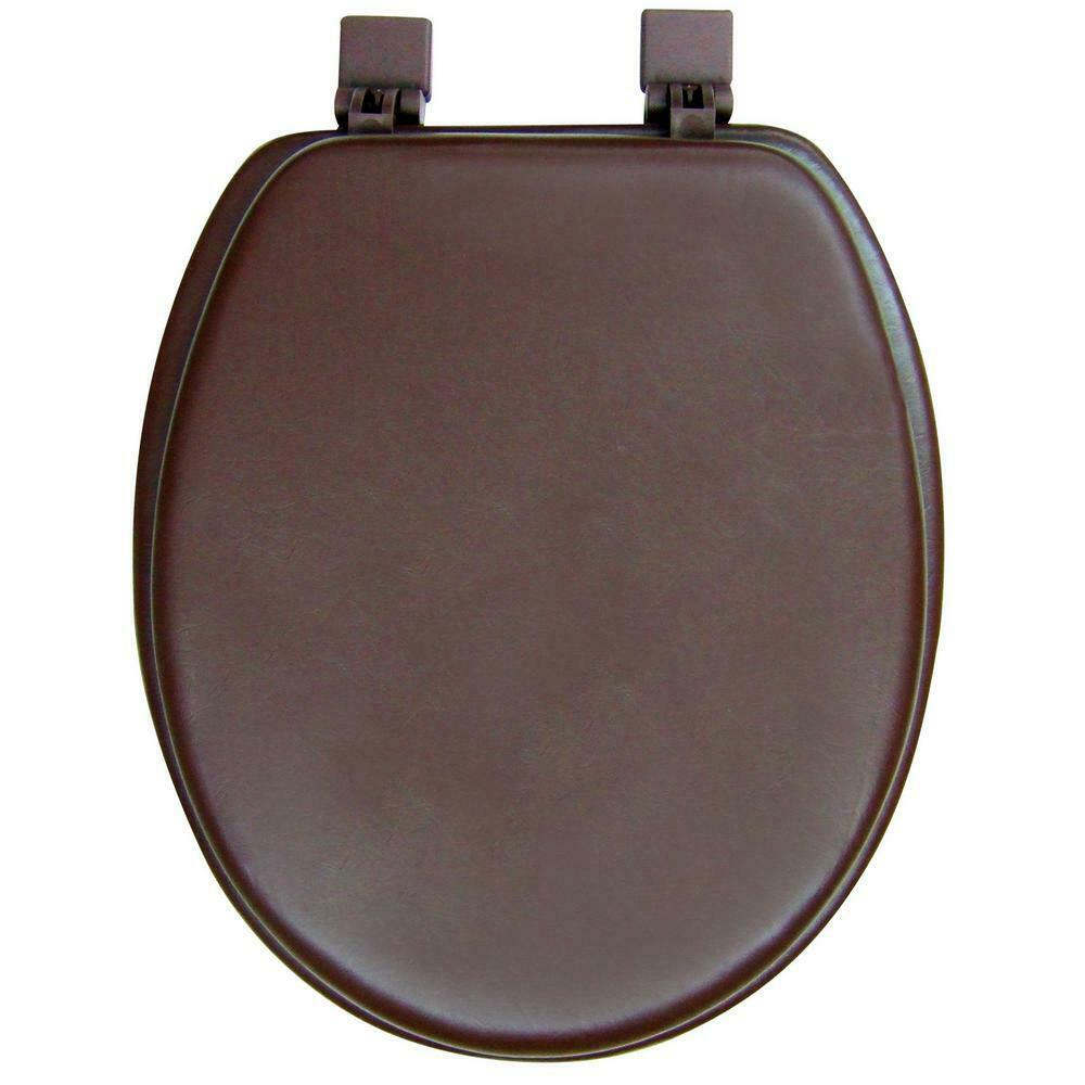 NEW Ginsey Solid Chocolate Brown Padded Elongated Toilet