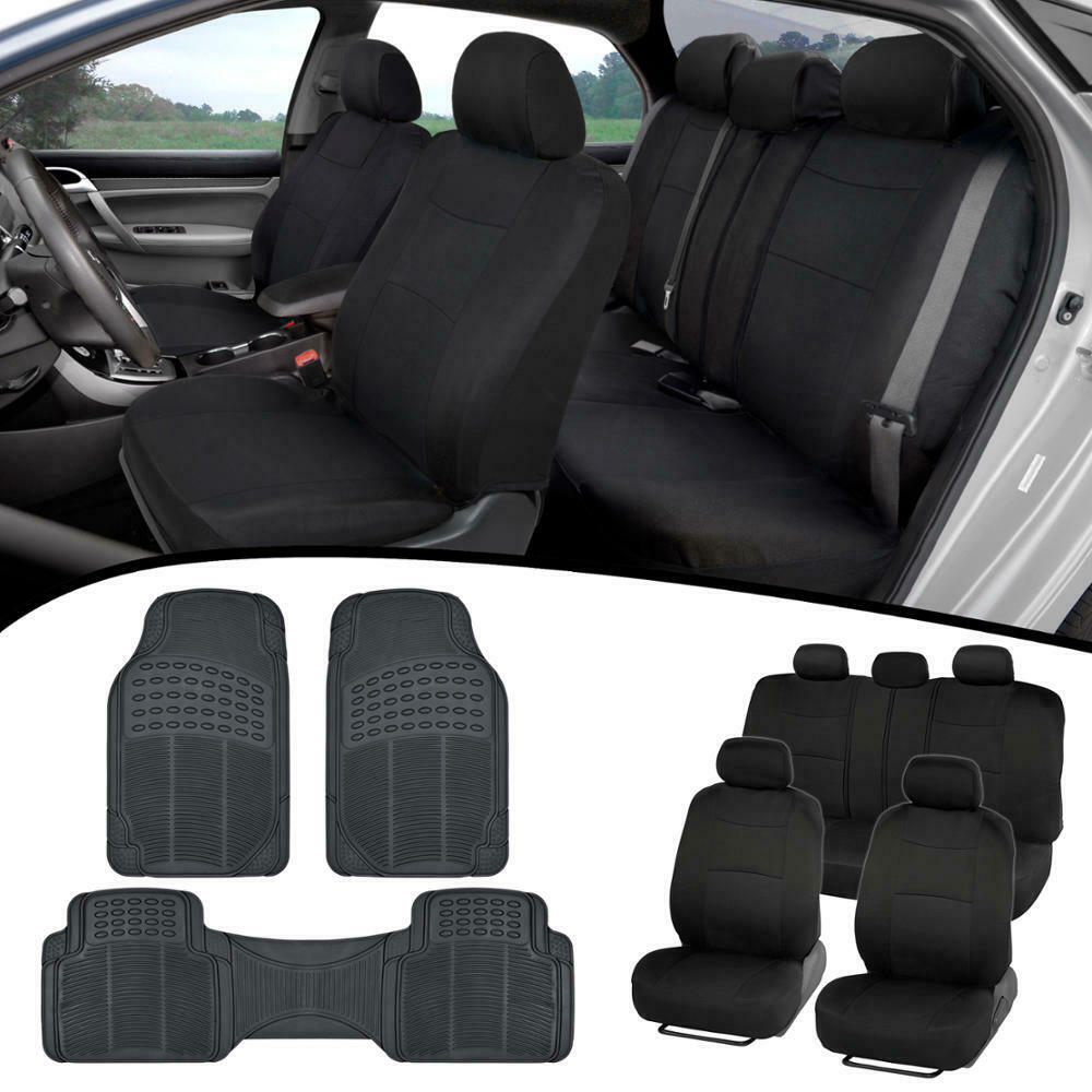 Full Black Car Seat Covers Front & 60/40 Rear W/ Rubber