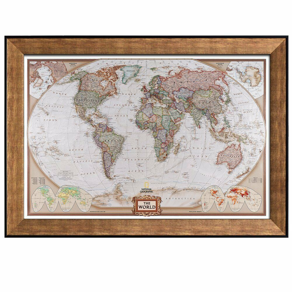 Colorful National Geographic Antique World Map Framed