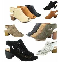 b21371d861cd14 Women's Sexy Peep Toe Perforated Chunky Heel Sandals Shoes Size 5.5 - 11 NEW