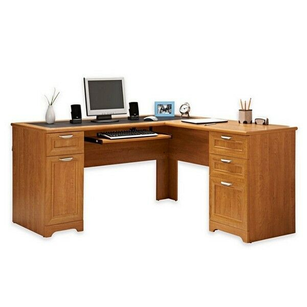 New L Shaped Office Desk With Hutch Computer Executive