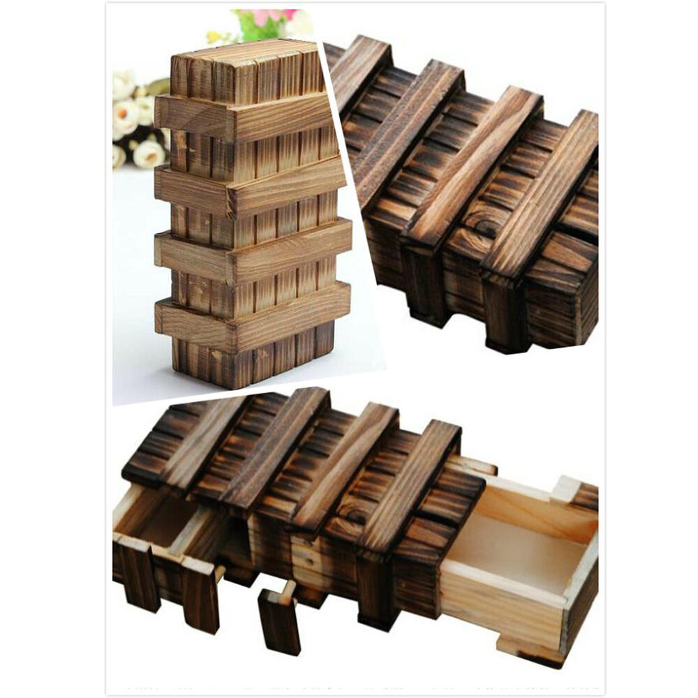 magic compartment wooden puzzle box with secret drawer brain teaser kid gift 714890609365 ebay. Black Bedroom Furniture Sets. Home Design Ideas