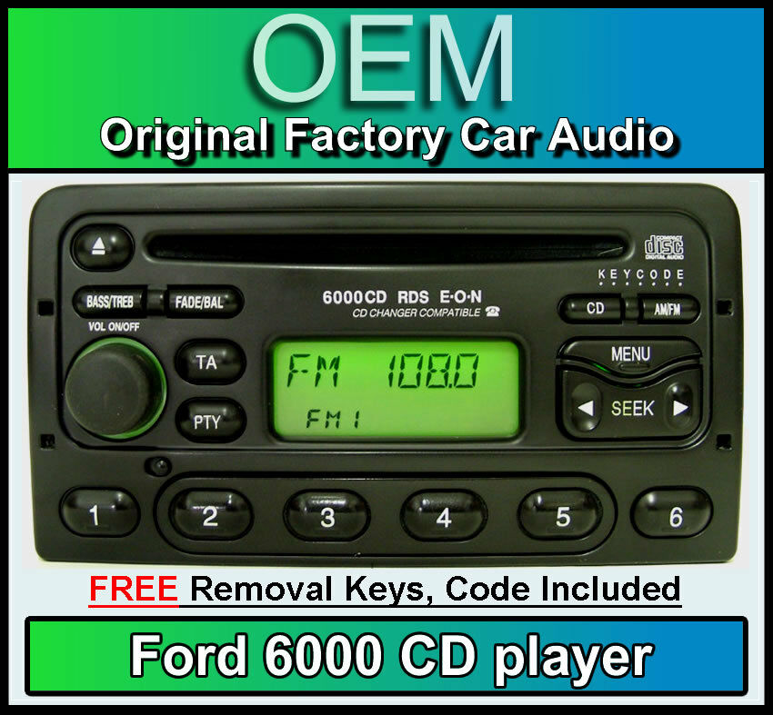 ford focus cd player ford 6000 car stereo with radio removal keys and code ebay. Black Bedroom Furniture Sets. Home Design Ideas