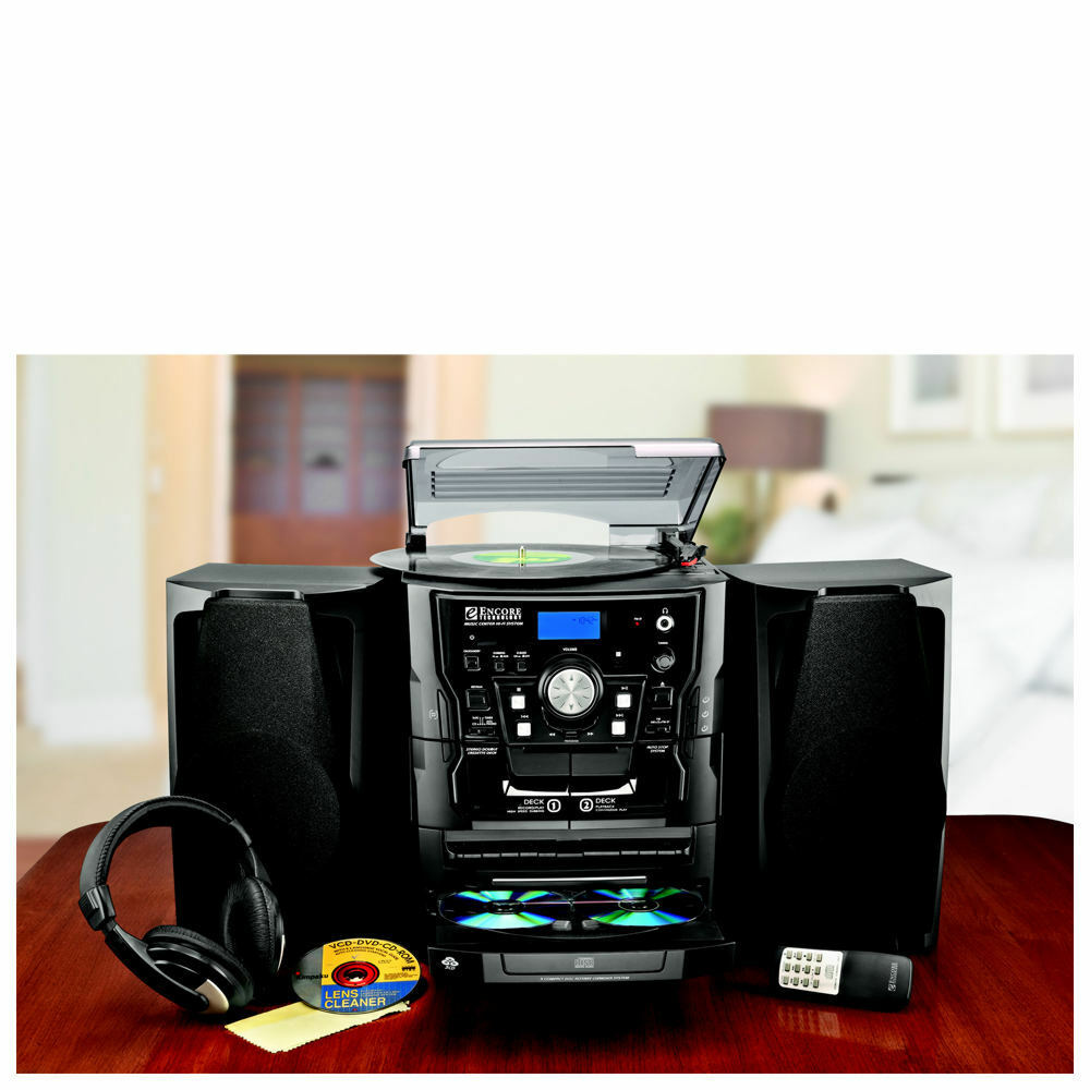 encore shelf stereo system with turntable 3 cd radio and. Black Bedroom Furniture Sets. Home Design Ideas