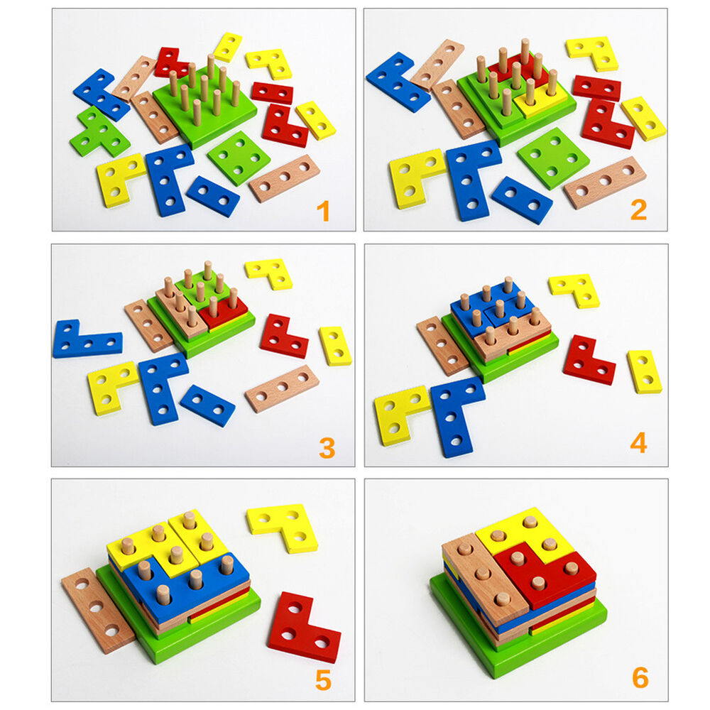 Educational Toys Nursery : Wooden geometry block puzzle montessori educational