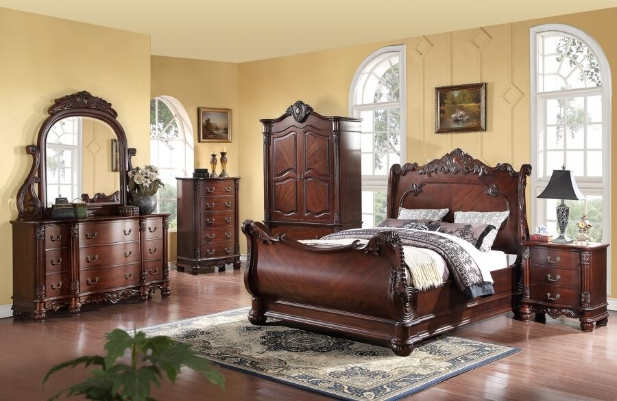 Meridian regal king size sleigh bedroom set 5pc traditional style ebay for King size bedroom sets with armoire