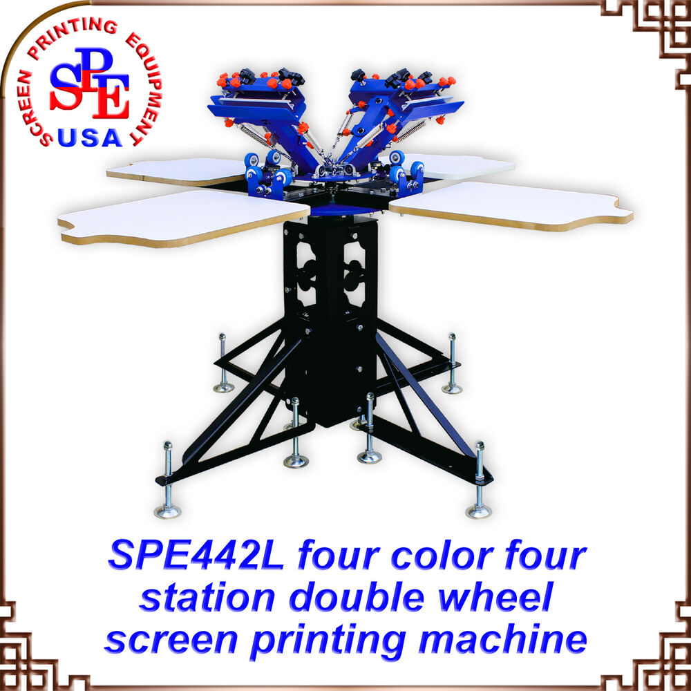 4 Color 4 Station Double Wheel Screen Printing Machine Printer Press Equipment Ebay