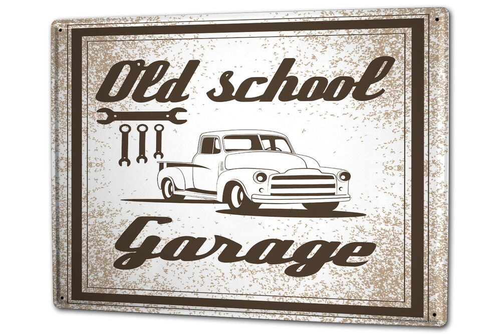 Vintage Tin Sign Automotive : Tin sign xxl vintage car old school garage metal plate