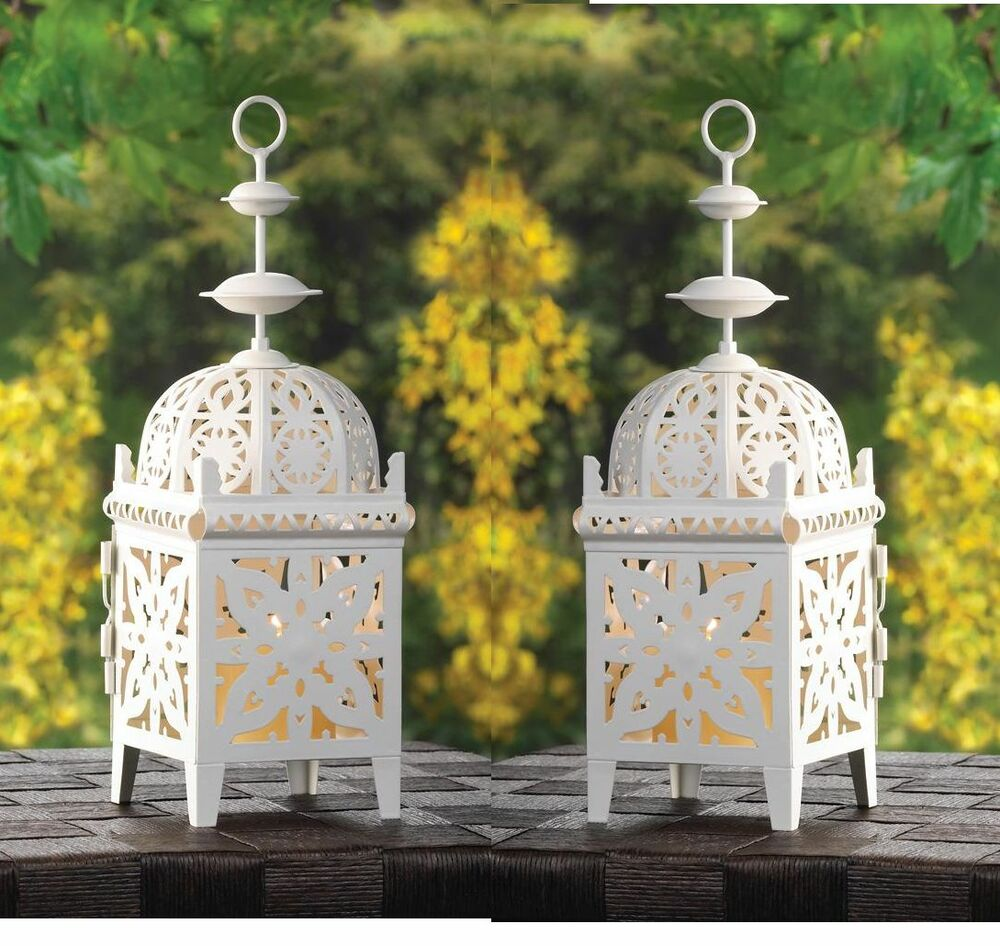 White moroccan scrollwork lantern candle holder wedding