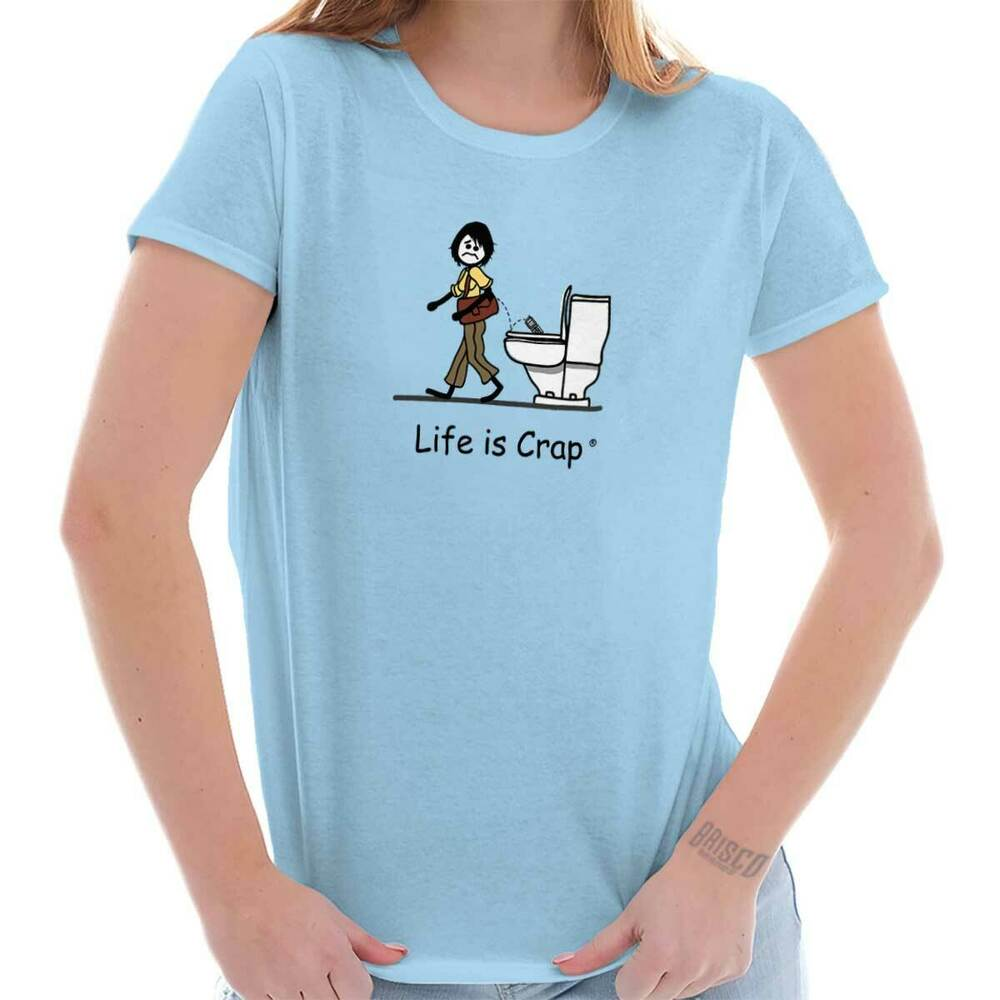 Life is crap flushed phone good life funny shirts gift for Successful t shirt brands