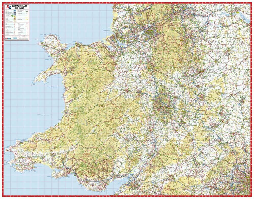 Central England & Wales Road Map by A-Z Maps (Wall Map, Paper ...