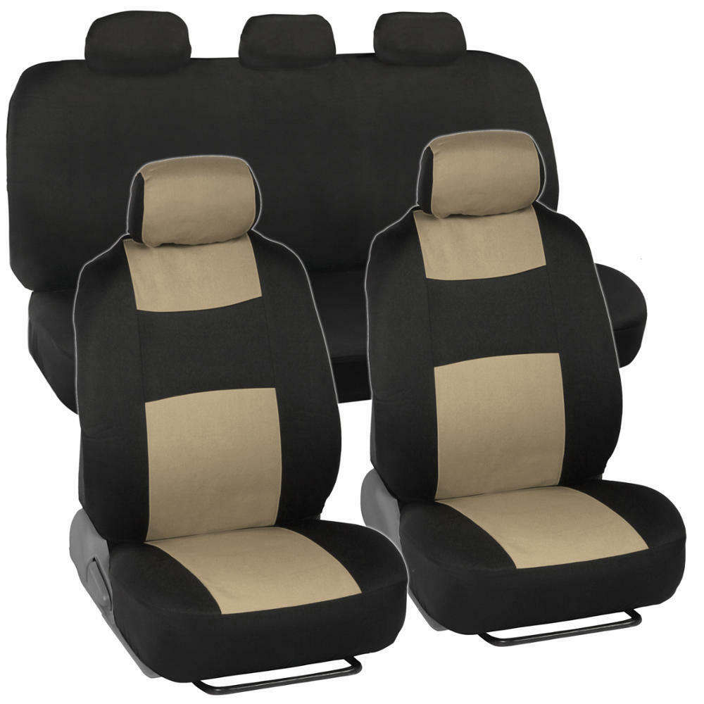black beige automotive car seat covers two tone classic blk tan ebay. Black Bedroom Furniture Sets. Home Design Ideas