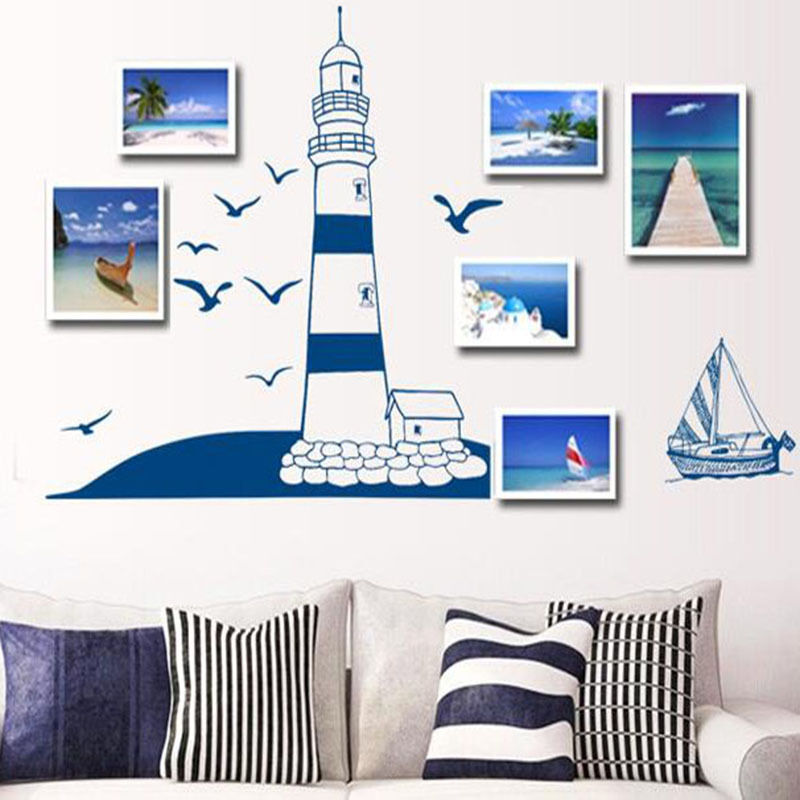 Blue Sailboat Seagull Diy Phpto Wall Stickers Background