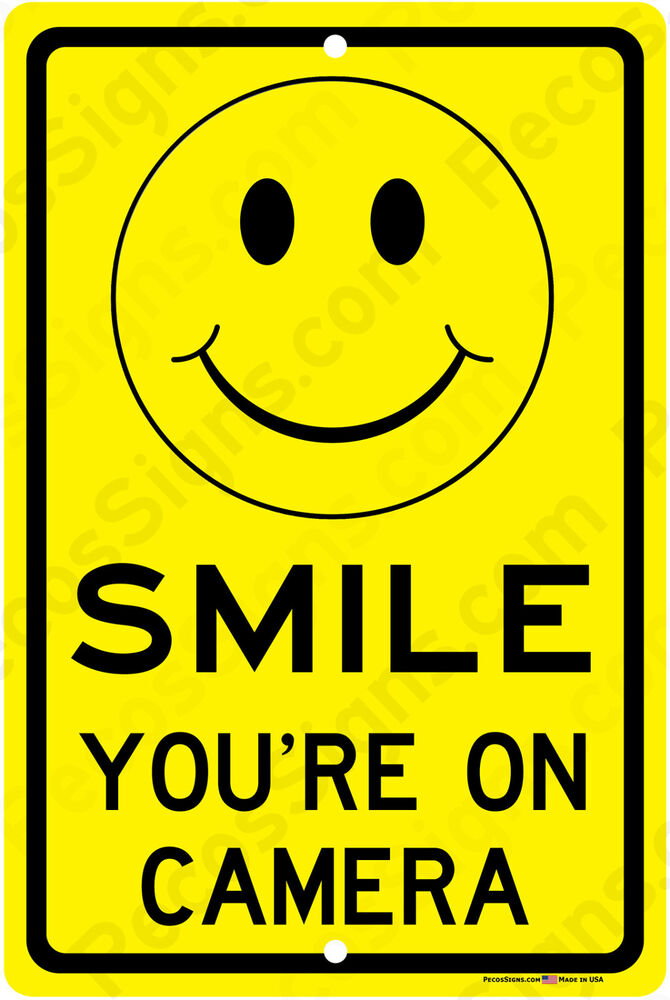 smile you 39 re on camera sign yellow business video security signs aluminum metal ebay. Black Bedroom Furniture Sets. Home Design Ideas